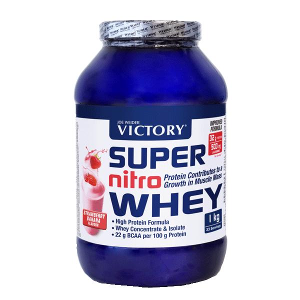 suplemento super nitro whey sabor fresa y banana